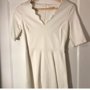 White Scalloped V Neck Dress, XXS